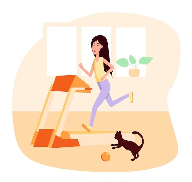 Mulher esguia correndo na esteira, perto dela um gato brinca com uma bola. ilustração em vetor cor plana dos desenhos animados. estilo de vida saudável do esporte.