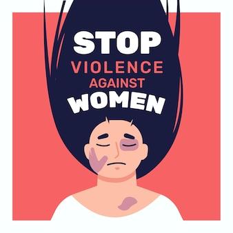 Mulher espancada ilustrada com texto para parar a violência contra mulheres