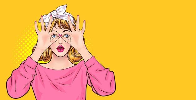 Mulher espantada fazendo formato de óculos com as mãos estilo pop art retrô em quadrinhos