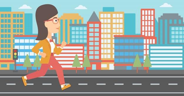 Mulher esportiva jogging.