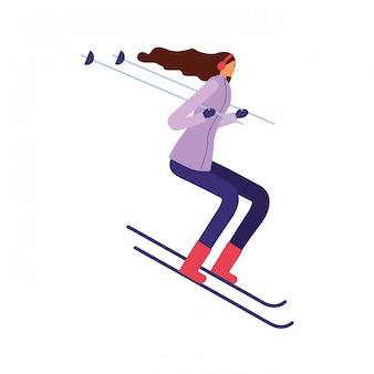 Mulher, esquiando, em, a, inverno, estação