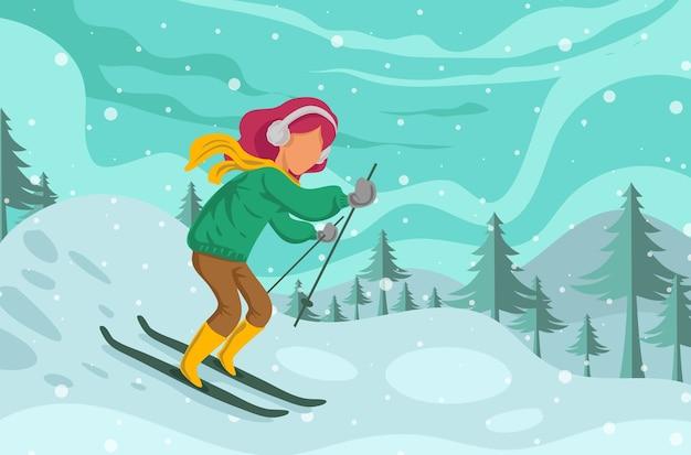 Mulher esquiando isolada em fundo de inverno