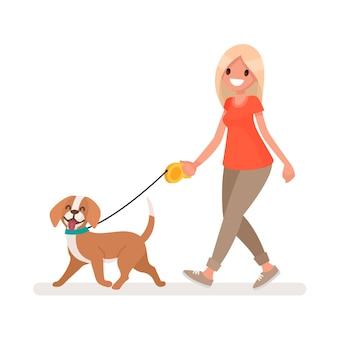 Mulher está caminhando com um cachorro. em um estilo simples
