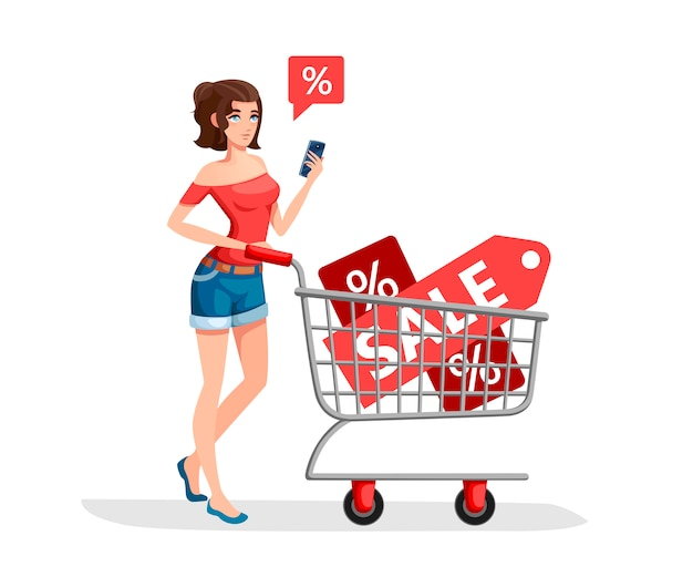 Mulher está carregando um carrinho de supermercado com banners de venda. menina de camisa vermelha com smartphone. personagem de desenho animado . ilustração em fundo branco