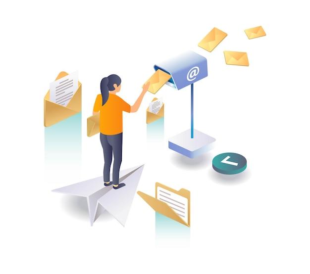 Mulher está enviando uma carta por e-mail no correio
