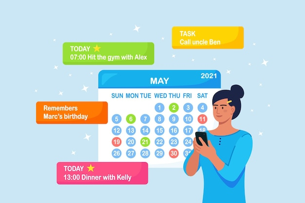 Mulher está planejando o dia, agendando compromissos no telefone.