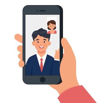 Mulher está tendo uma chamada de vídeo com um homem