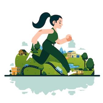 Mulher estilizada de vetor correndo com sorriso no rosto