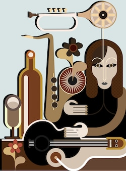 Mulher estranha com instrumentos musicais - vector o fundo. aplicação de arte abstrata.