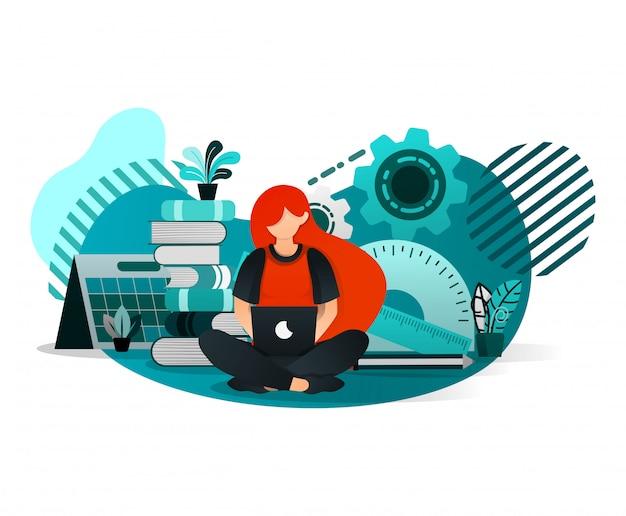 Mulher, estudar, com, um, laptop