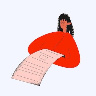 Mulher étnica lê um contrato legal