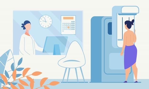 Mulher, exame médico, mamografia, fluorography