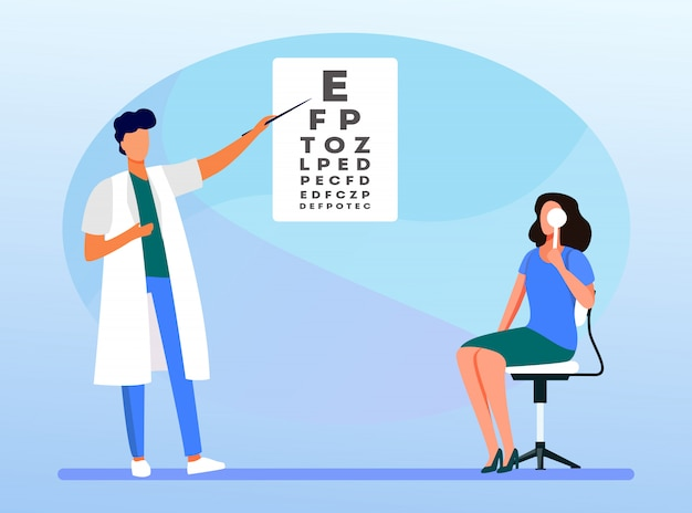 Mulher examinando os olhos com ajuda do oftalmologista