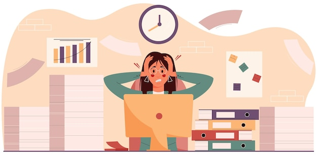 Mulher exasperada no local de trabalho sentada entre uma pilha de papéis e pastas. ilustração vetorial