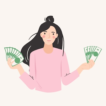 Mulher excitada mostrando dinheiro. bem sucedido, satisfeito, vencedor, conceito de compras.