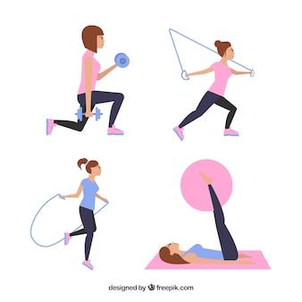 Mulher exercício praticando