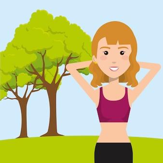Mulher exercitando no campo