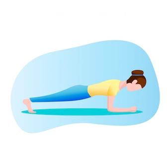Mulher, exercitar, ficar, em, um, prancha, posição