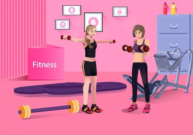 Mulher, exercitar, treinamento, em, ginásio, ilustração
