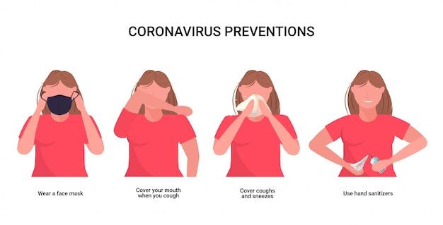 Mulher explica medidas de proteção básicas contra a prevenção de coronavírus, proteja-se de 2019-ncov