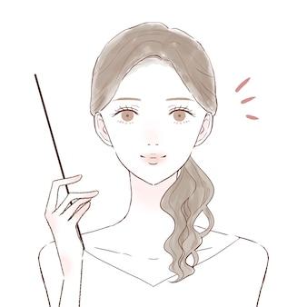 Mulher explicando enquanto segura a vara de instrução. sobre um fundo branco.