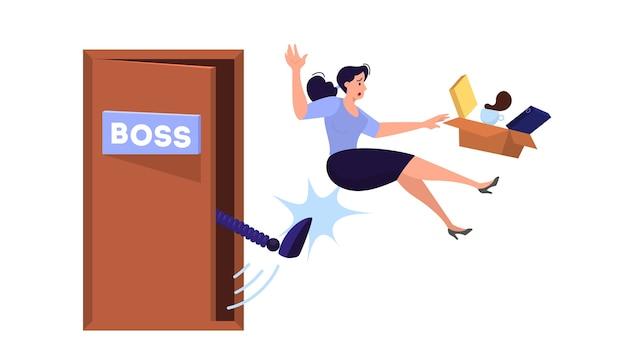 Mulher expulsa do trabalho. idéia de desemprego. pessoa desempregada, crise financeira. ilustração