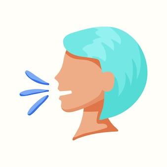 Mulher fala em perfil. ilustração em vetor