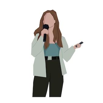 Mulher falando com microfone mulher segurando o telefone na mão podcaster do blogger falar em público
