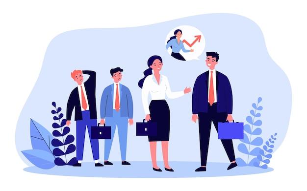 Mulher falando com seu chefe na frente de seus colegas invejosos. ilustração em vetor plana. empresária tendo sucesso nos negócios, deixando parceiros para trás. sucesso, feminismo, talento, conceito de carreira