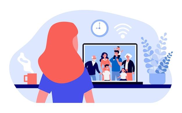 Mulher falando com uma grande família via laptop. wi-fi, internet, ilustração vetorial plana online