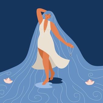 Mulher fantasia de beleza com longos cabelos de rio