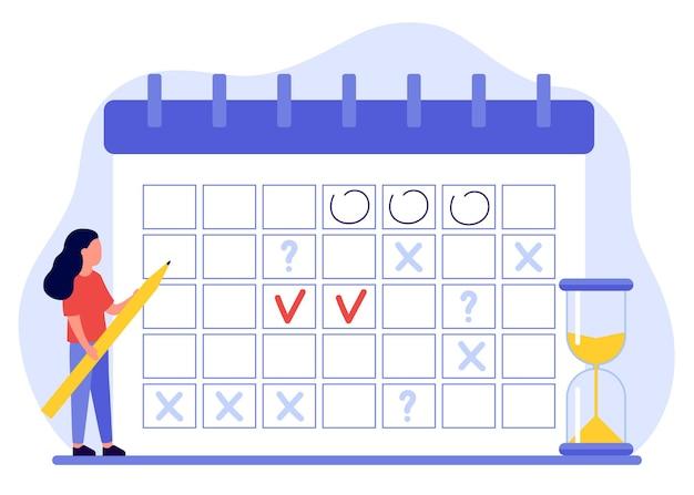 Mulher faz agenda, plano, preenche calendário a garota tem planejador de planos