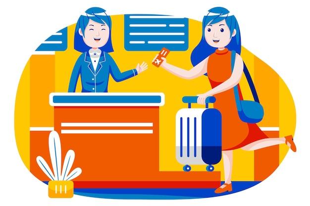 Mulher faz o check-in no balcão do balcão do aeroporto internacional.