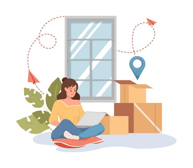 Mulher faz pedido na ilustração dos desenhos animados plana de laptop. transporte de carga, serviço de realocação.