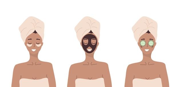 Mulher faz procedimentos cosméticos de spa para a pele do rosto. rotina matinal. hora do banho.