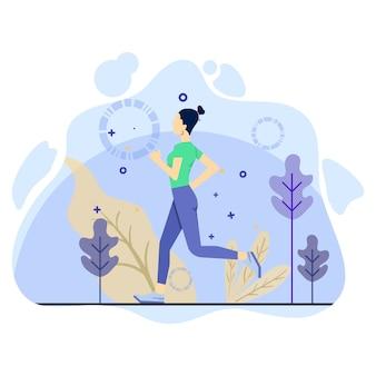 Mulher faz treino diário, executando o conceito de ilustração