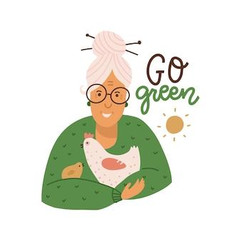 Mulher fazendeira idosa segurando uma galinha e uma galinha nos braços, a mulher mais velha cuida do bi vermerian ...