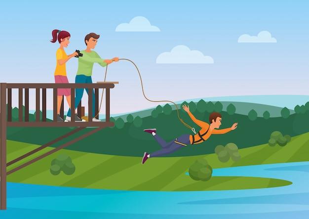 Mulher fazendo bungee jumping com os amigos