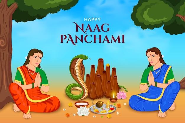 Mulher fazendo cobra puja feliz naag panchami