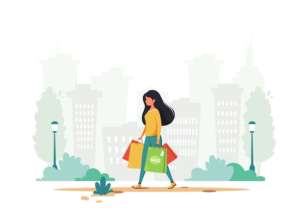 Mulher fazendo compras na cidade