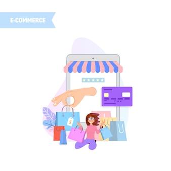 Mulher, fazendo compras online