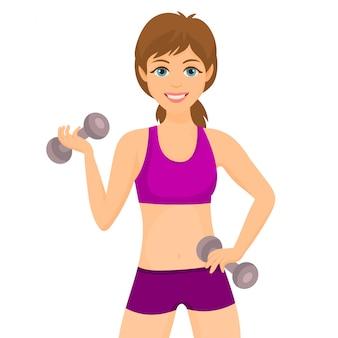 Mulher, fazendo, desporto, com, dumbbells