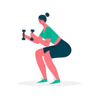 Mulher fazendo exercício agachamento com halteres no sportswear.