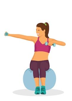 Mulher fazendo exercício usando halteres e bola de borracha