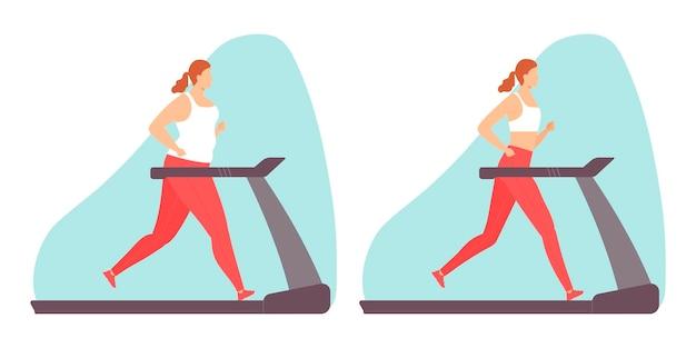 Mulher fazendo exercícios aeróbicos em uma esteira de gordura e mulher magra. ilustração em vetor em estilo simples