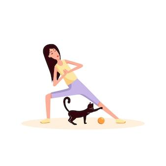 Mulher fazendo ginástica perto de seu gato jogar bola cor vetor plana cartoon ícone esporte estilo de vida
