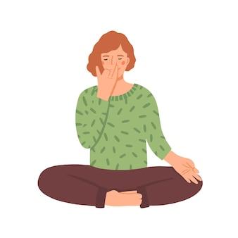Mulher fazendo ilustração plana de ioga
