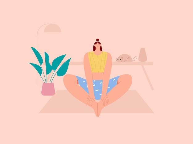 Mulher fazendo ioga amarrada no tornozelo poses ilustração