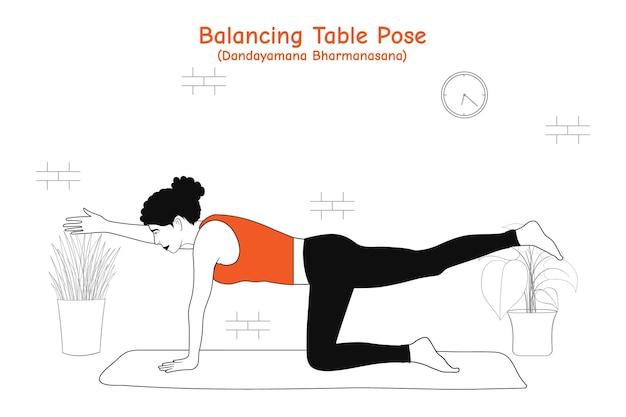Mulher fazendo ioga asana postura de equilíbrio da mesa ou dandayamana bharmanasana