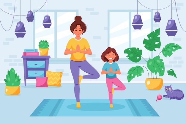Mulher fazendo ioga com a filha em um interior aconchegante